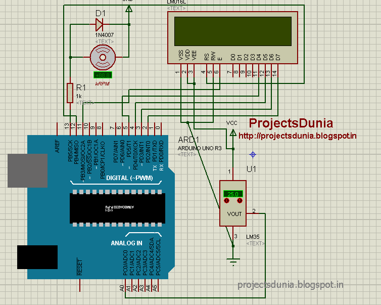 Arduino-based Automatic Temperature Fan Speed Controller | PROJECTSDUNIA