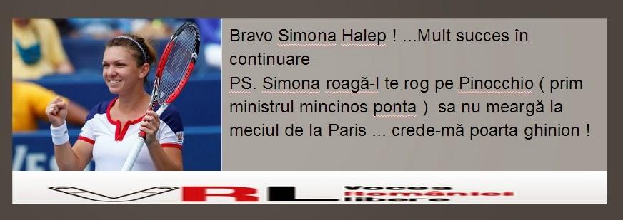 Bravo Simona Halep , mult succes in continuare  PS. Simona roagă-l te rog pe Pinocchio sa nu meargă la meciul de la Paris ... crede-ma poarta ghinion !