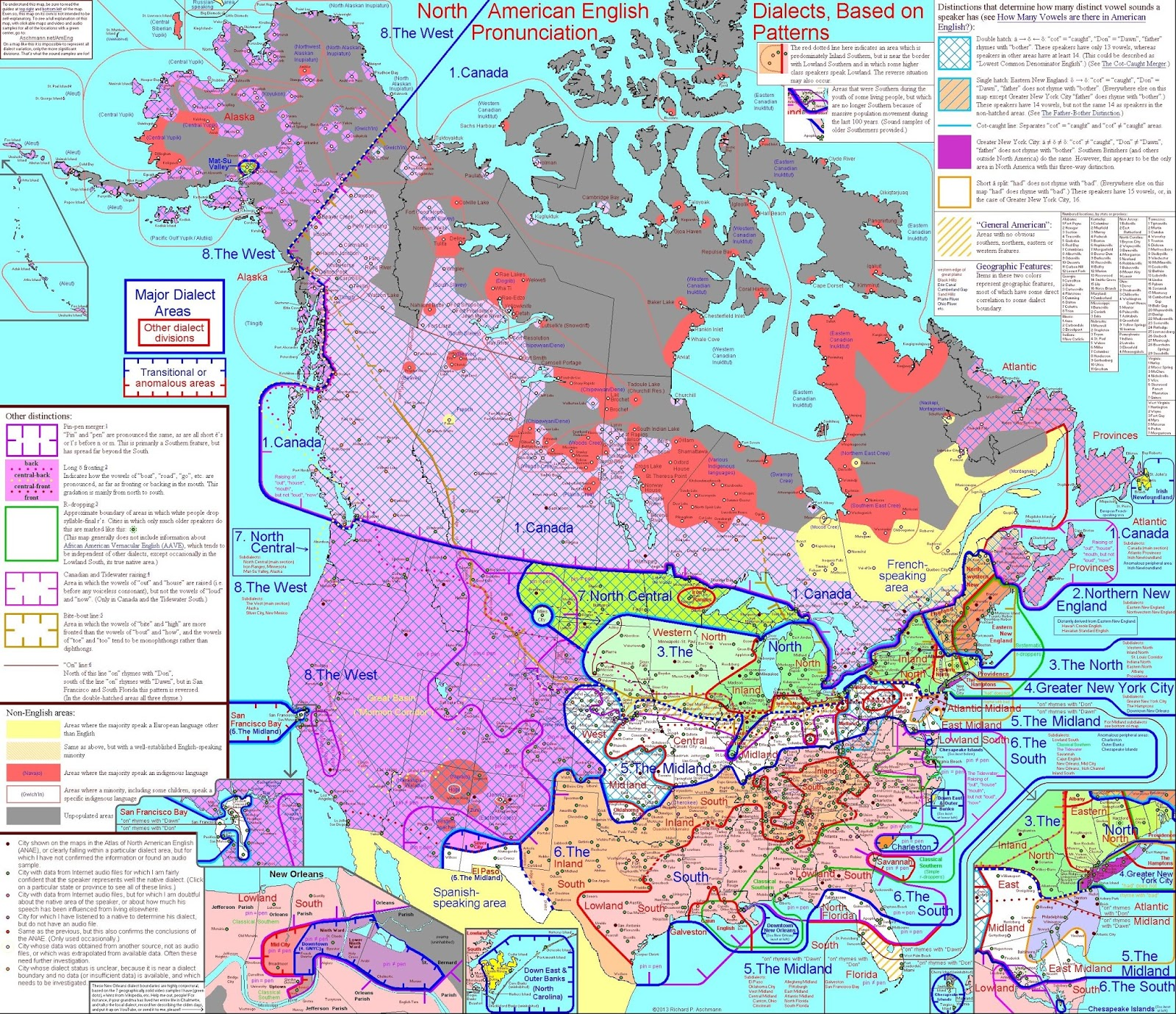 A dialect map of the English language in North America