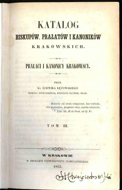 Karta tytułowa Katalogu biskupów, prałatów i kanoników krakowskich bpa Ludwika Łętowskiego, Kraków 1852. Polska Biblioteka Internetowa.