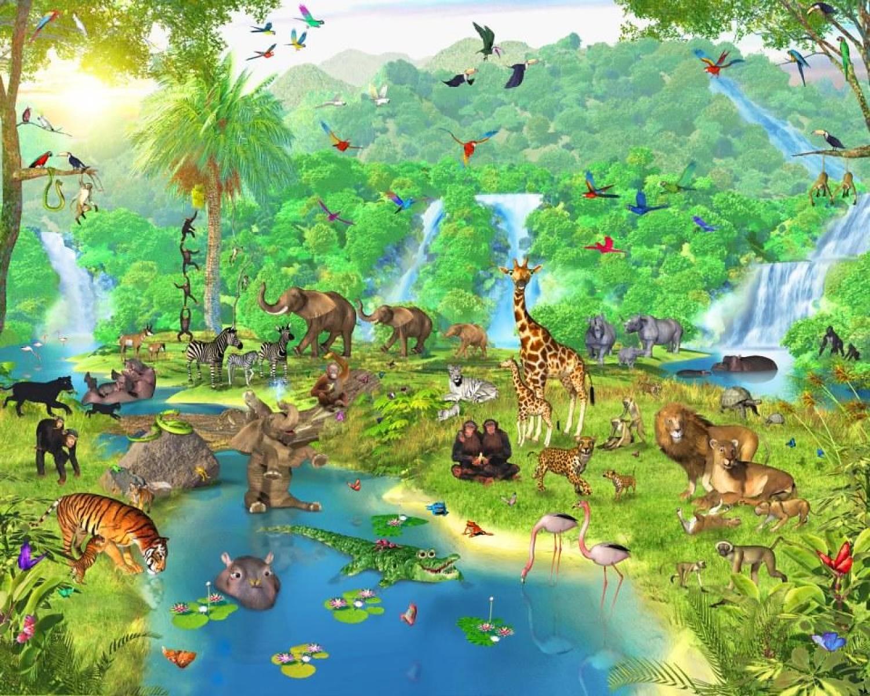 Jungle Slaapkamer Maken : Zoo Jungle Animal Cartoon Wallpaper