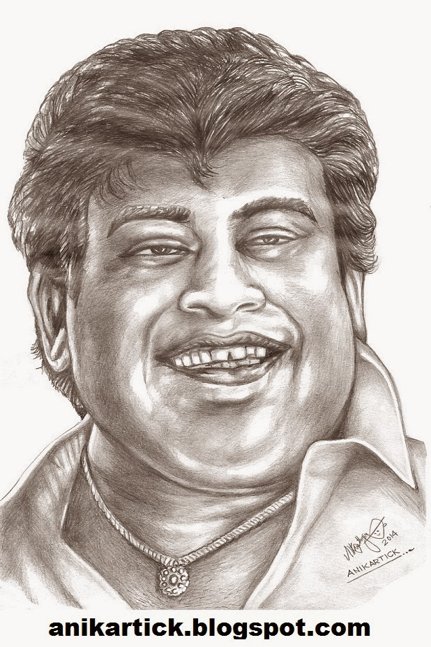 Senthil actor comedian tamil actor one of the best comedians in tamil movies portrait pencil sketch by artist anikartickchennaitamil nadu