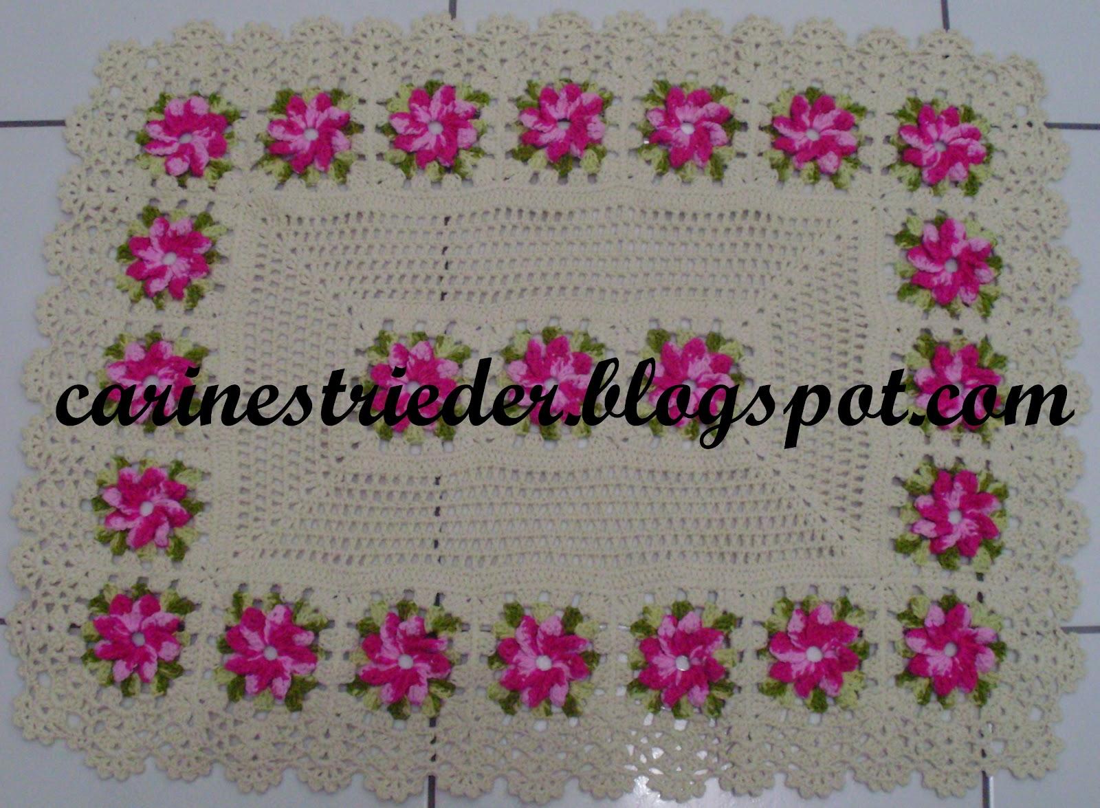 Strieder e seus Crochês: Jogo de Banheiro de Crochê com Flores #7E1646 1600 1175