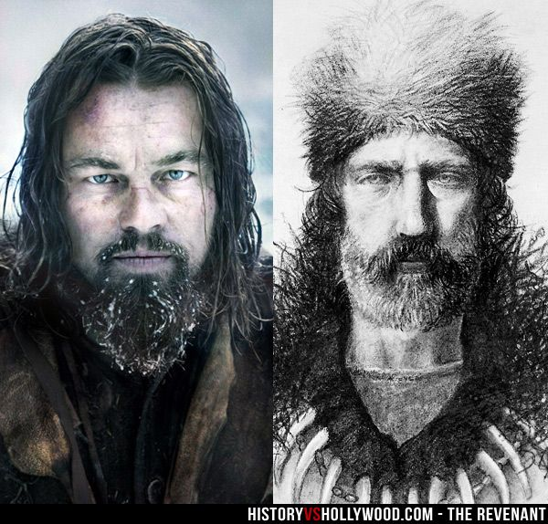 Leonardo DiCaprio (left) portrays frontiersman Hugh Glass (right) in The Revenant movie.