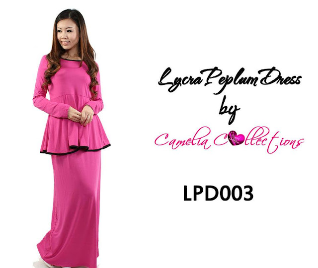 lycra peplum dress magenta