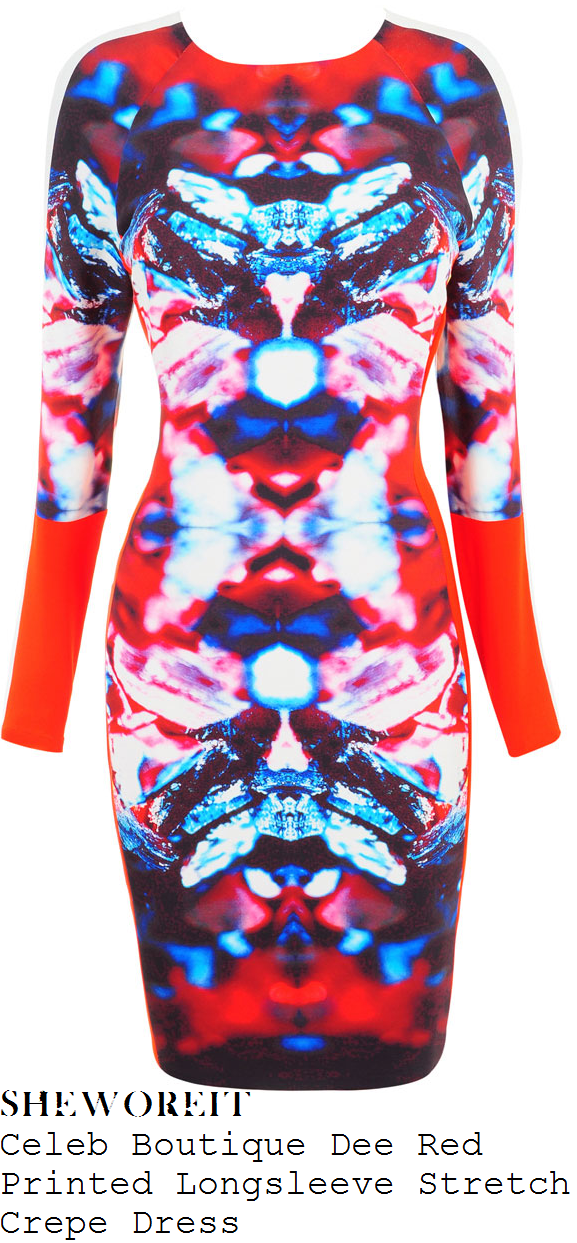 chloe-sims-red-orange-blue-white-and-pink-mirror-graphic-print-long-sleeve-bodycon-dress