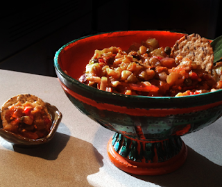 Bowl shown with Caponata and crackers