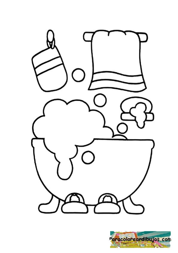 bañera para colorear