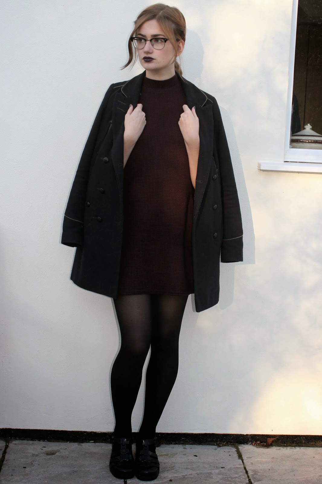 ALL DEATH BY DIAMONDS OUTFIT OF THE DAY HOUNDSTOOTH TURTLENECK DRESS