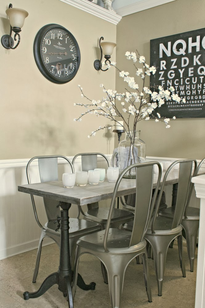 Metal chairs, DIY dining table, industrial chic dining table, antique pickle jar, cherry blossom branches, diy eye chart
