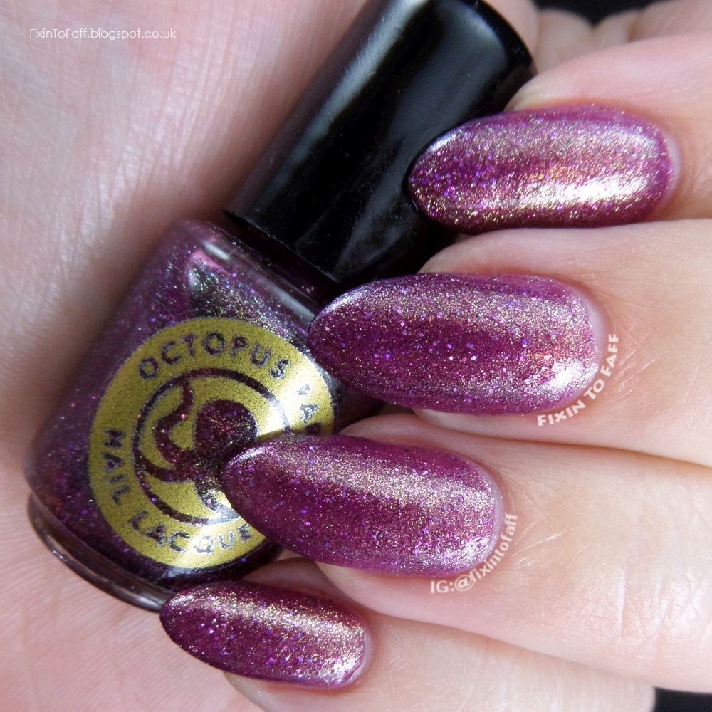 Swatch and review of Octopus Party Nail Lacquer Witches Get Stitches.