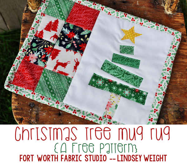 Fort Worth Fabric Studio: Christmas Tree Mug Rug {Free Pattern} : quilted mug rugs free patterns - Adamdwight.com