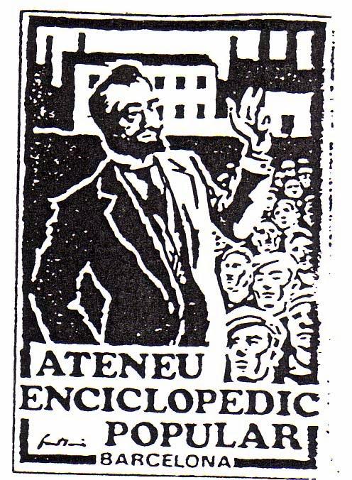 Logotip de l'Ateneu Enciclopèdic representant un miting de Francesc Layret