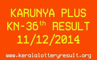 Karunya Plus Lottery KN-36 Result 11-12-2014