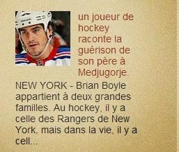 1999 un joueur de hockey raconte la guérison de son père Artie Boyle à Medjugorje.