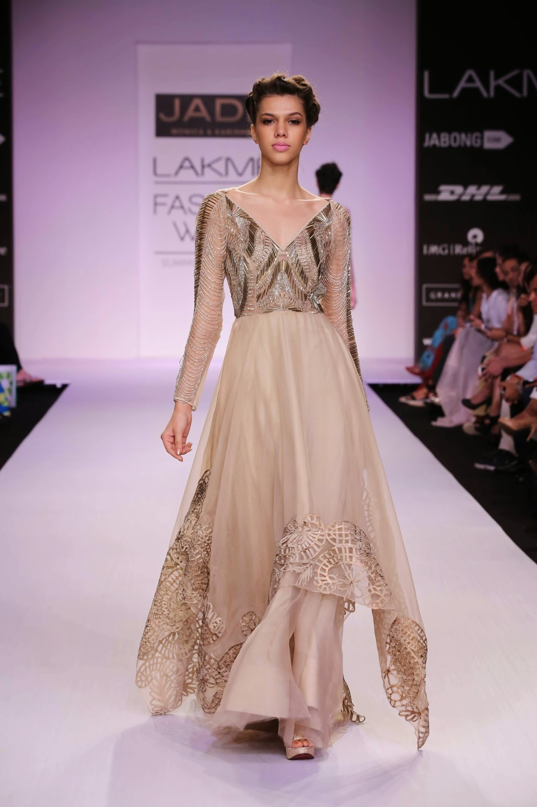 "Giving the retro 1920's look pride of place in their collection, Monica Shah and Karishma Swali from ""Jade"" presented a relaxed glamorous line called ""The Bohemian Princess"" at Lakmé Fashion Week Summer/Resort 2014."