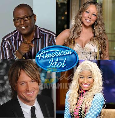 American Idol Season 12 Judges: Randy Jackson, Mariah Carey, Nicki Minaj and Keith Urban. American Idol returns this January 2013