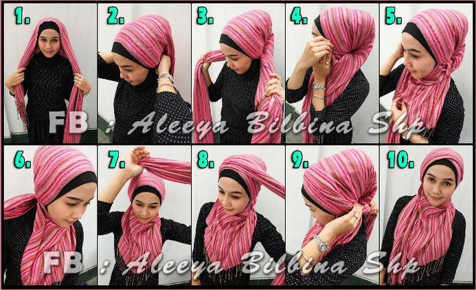 Tutorial Cara Memakai Jilbab Hijab Segi Empat Pashmina ...