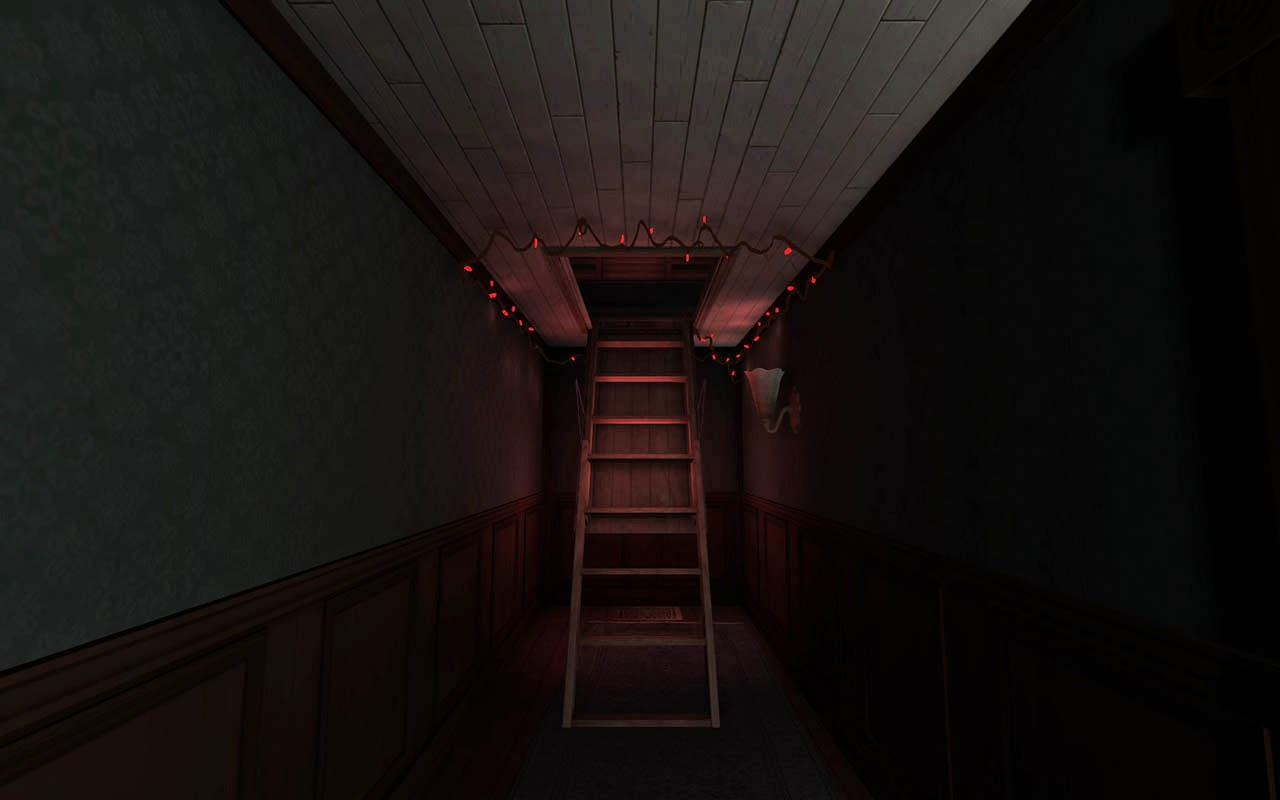 gone home attic stairs red lights screenshot