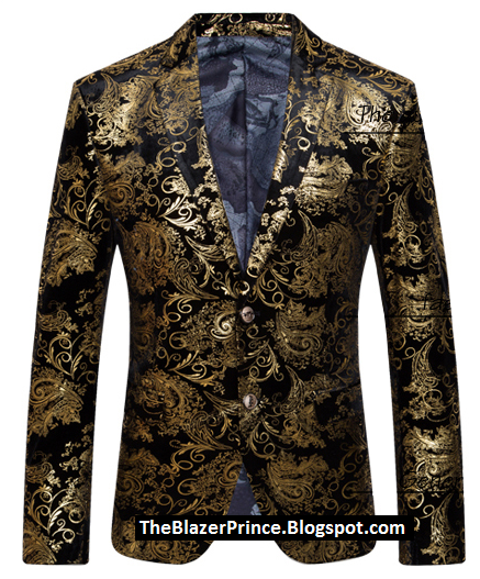 Golden Antique Black Velvet Luxury Blazer
