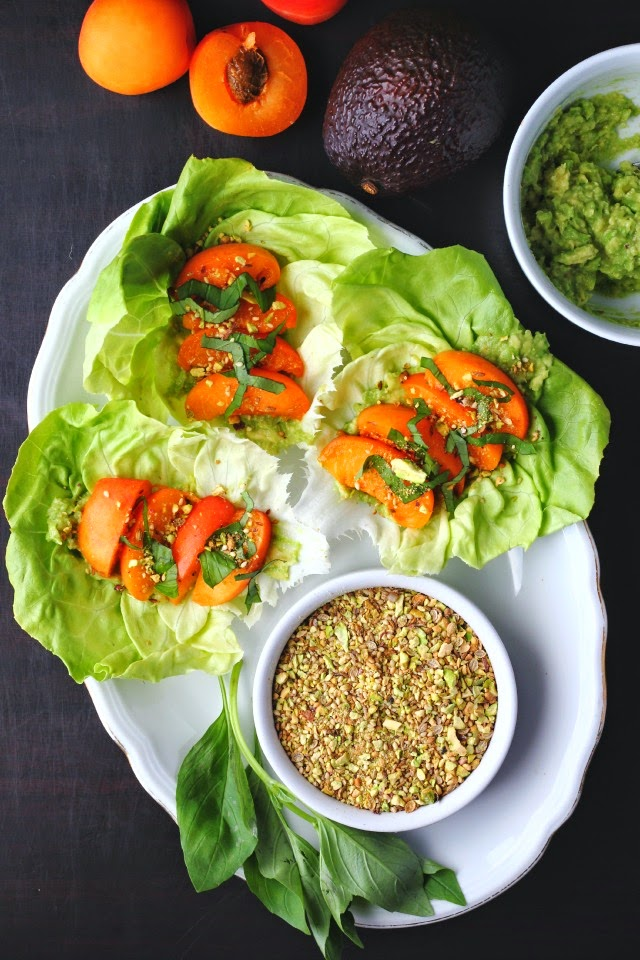 Avocado & Apricot Salad Wraps with Pistachio Dukkah | happy hearted kitchen
