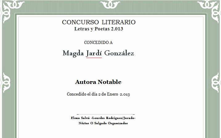Dilploma Concurso Literario Letras y Poetas 2013