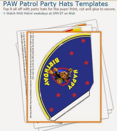 Paw Patrol: Free Printable Party Hats.