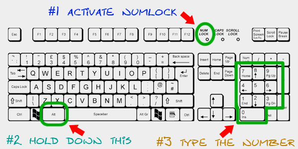 How to type extended ASCII on US keyboard (Windows)