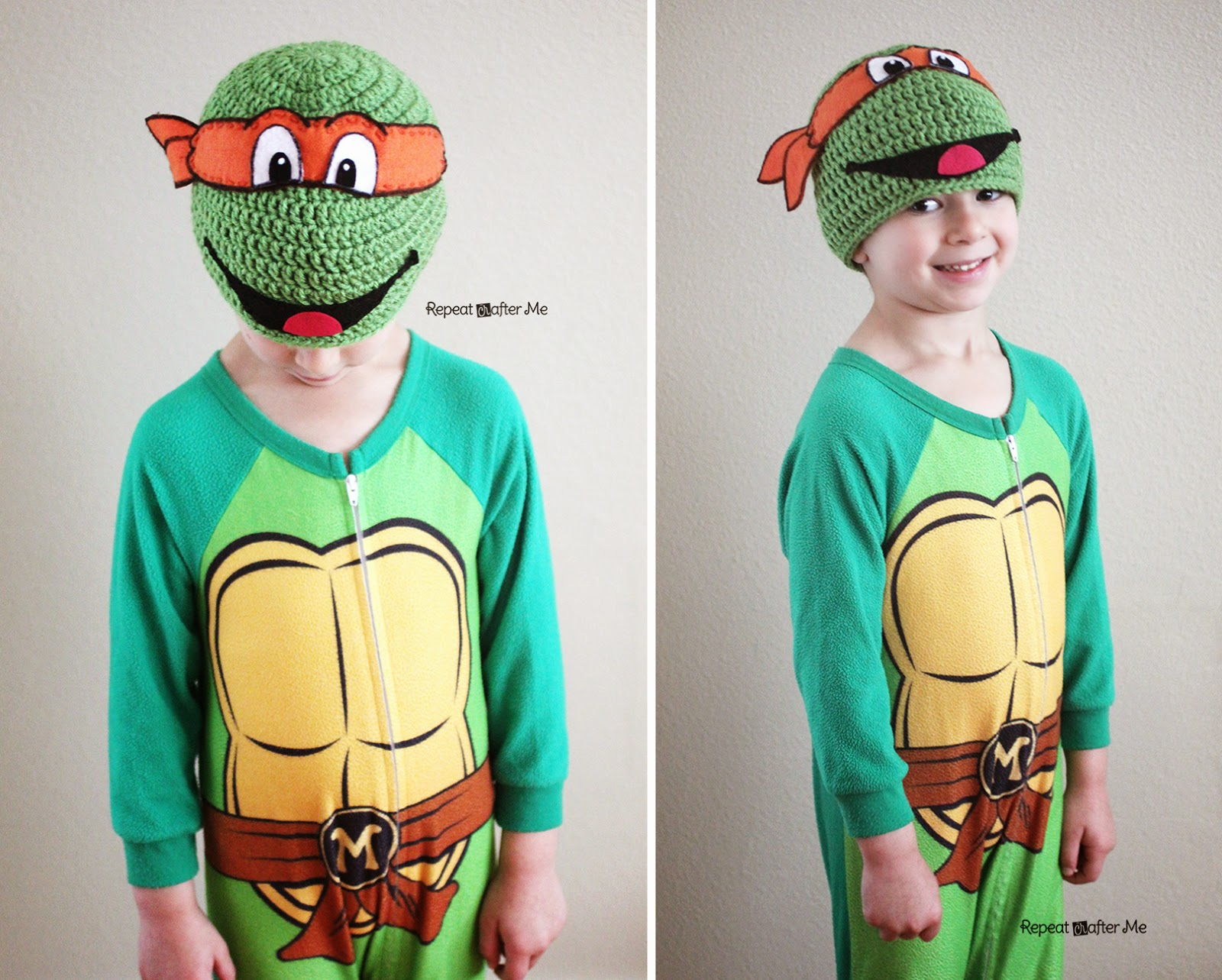 Free Crochet Patterns For Ninja Turtle Hat : Repeat Crafter Me: Crochet Ninja Turtle Hat Pattern