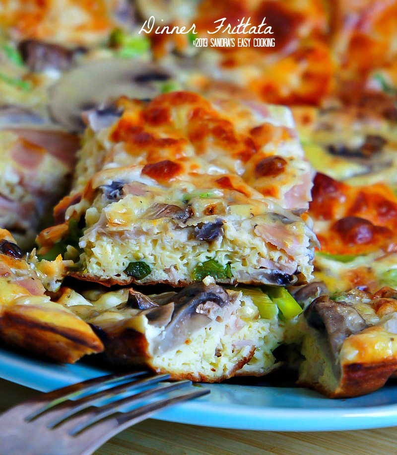Simple Dinner Frittata with vegetables and meat