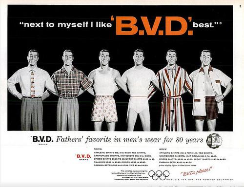 "retro old vintage historic BVD underwear ad advertisement ""next to myself I like BVD best"""