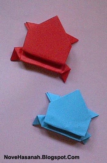 cara membuat origami yang mudah untuk anak TK, SD, dan pemula berbentuk katak lompat