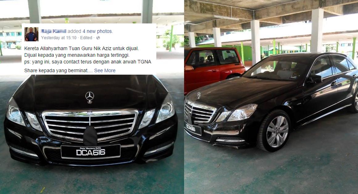 Kereta Allahyarham Nik Aziz Diiklan Untuk Dijual