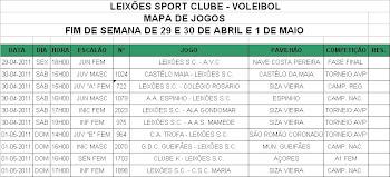 Jogos e resultados dos dias 29, 30 de Abril e 1 de Maio.