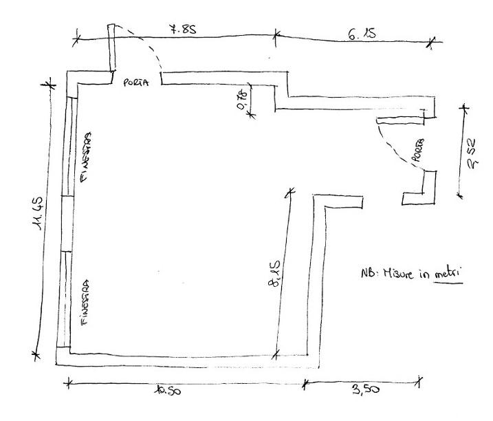 Disegnare in scala la propria camera da letto for Planimetria stanza