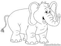 Gambar Gajah Dikebun Binatang Tersenyum Pada Pengunjung Untuk Diwarnai