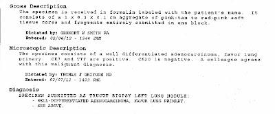 tumor specimen report - 8 mm left lung nodule