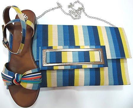 Комплект сандали и чанта на райе в синьо-жълто