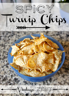 Spicy Turnip Chips in Dehydrator at Diane's Vintage Zest!  #recipe #easy #healthy #vegetarian #snack