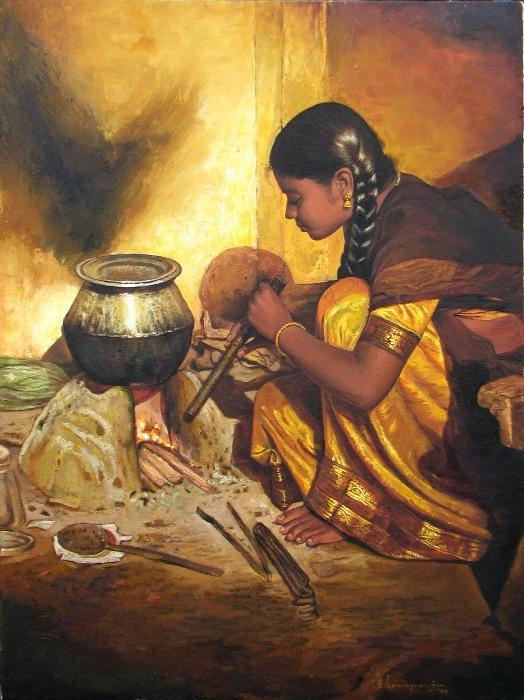 Artist elayaraja 39 s beautiful paintings for Art of indian cuisine
