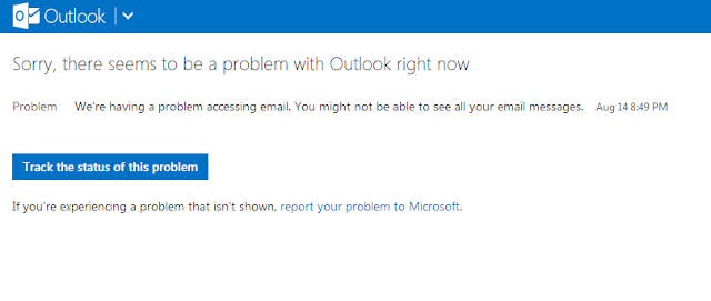 Sorry, there seems to be a problem with Outlook right now