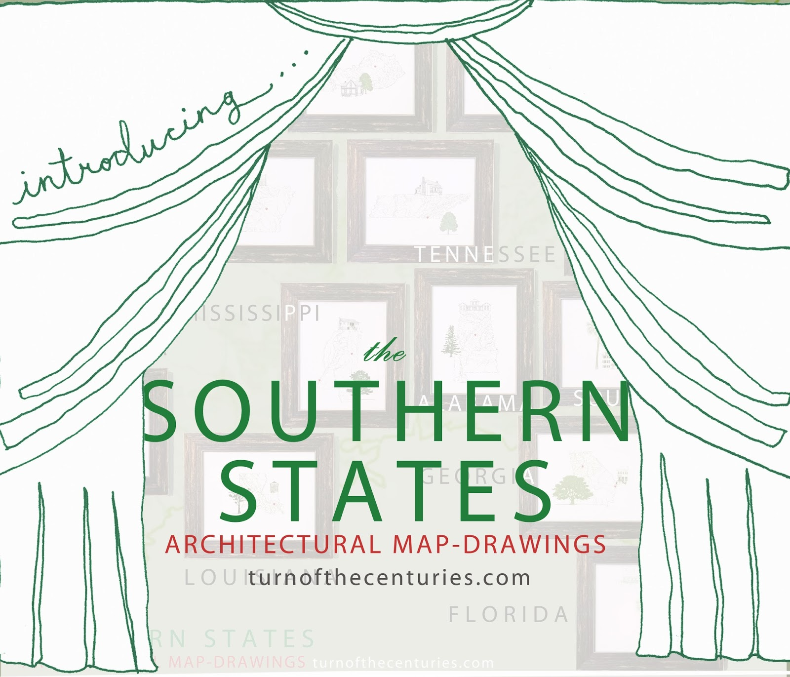 TurnoftheCenturies The SOUTHERN STATES USA MapDrawings - Map usa southern states