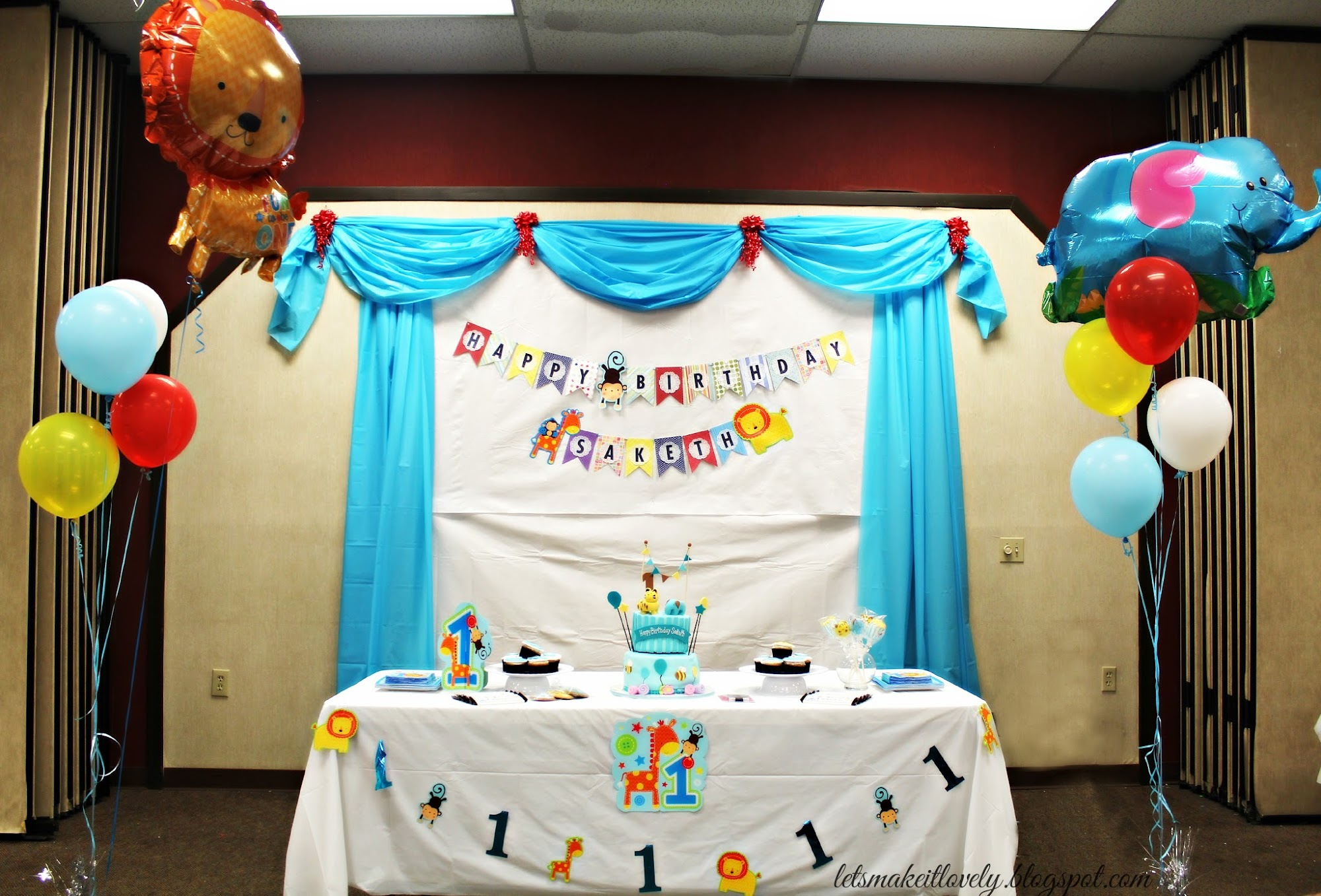 Let 39 s make it lovely diy birthday party backdrop decor for Backdrop decoration for birthday