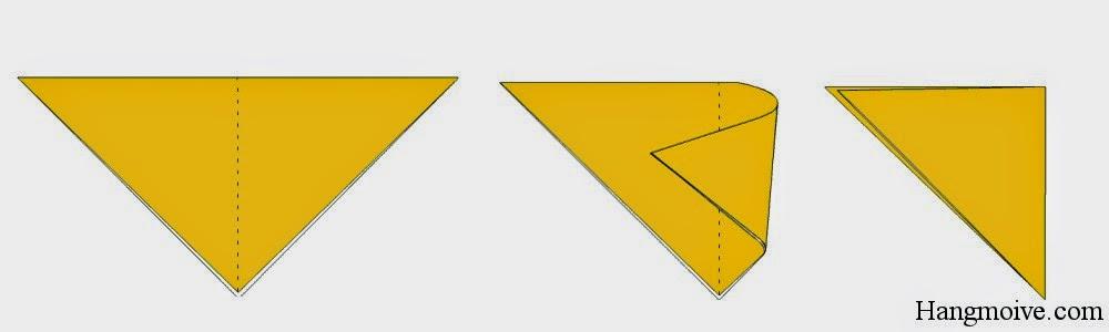Bước 2: Gấp đôi tam giác cân lại theo chiều từ trái sang phải ta được một tam giác vuông.