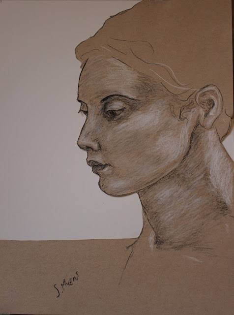 face, head, woman, charcoal, conte, cut, paper, Sarah, Myers, eyes, mouth, ear, hair, sketch, drawing, art, dibujo, arte, study, portrait, tan, brown, bristol, figurative, human, realistic, artwork, shading