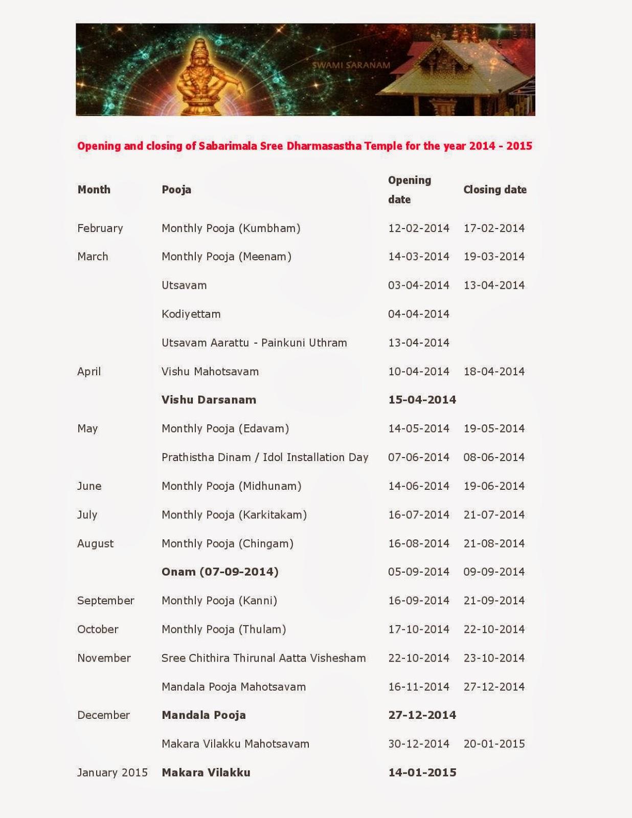 ViJay Kandan: Sabarimala Festival Calendar 2014-2015