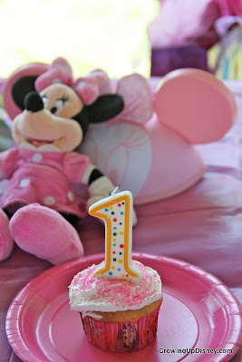 Minnie Mouse first birthday party, birthday cupcake, pink cupcake