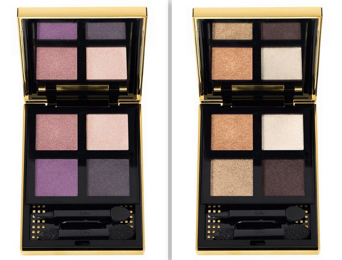 Yves Saint Laurent Pure Chromatics Summer 2013 Makeup Collection Wet Dry Eyeshadow Palette Quad - No 13 and No. 20 - Swatches