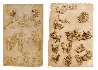 Leonardo da Vinci. Hombre a caballo contra un dragon