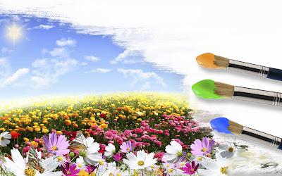 Postal creativa pintando el mundo de colores con pinceles